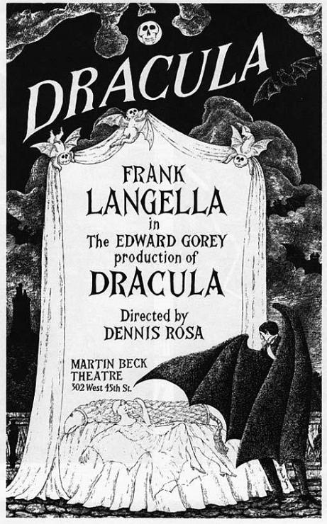 Edward Gorey - Dracula poster w Frank Langella (© The Edward Gorey Charitable Trust)